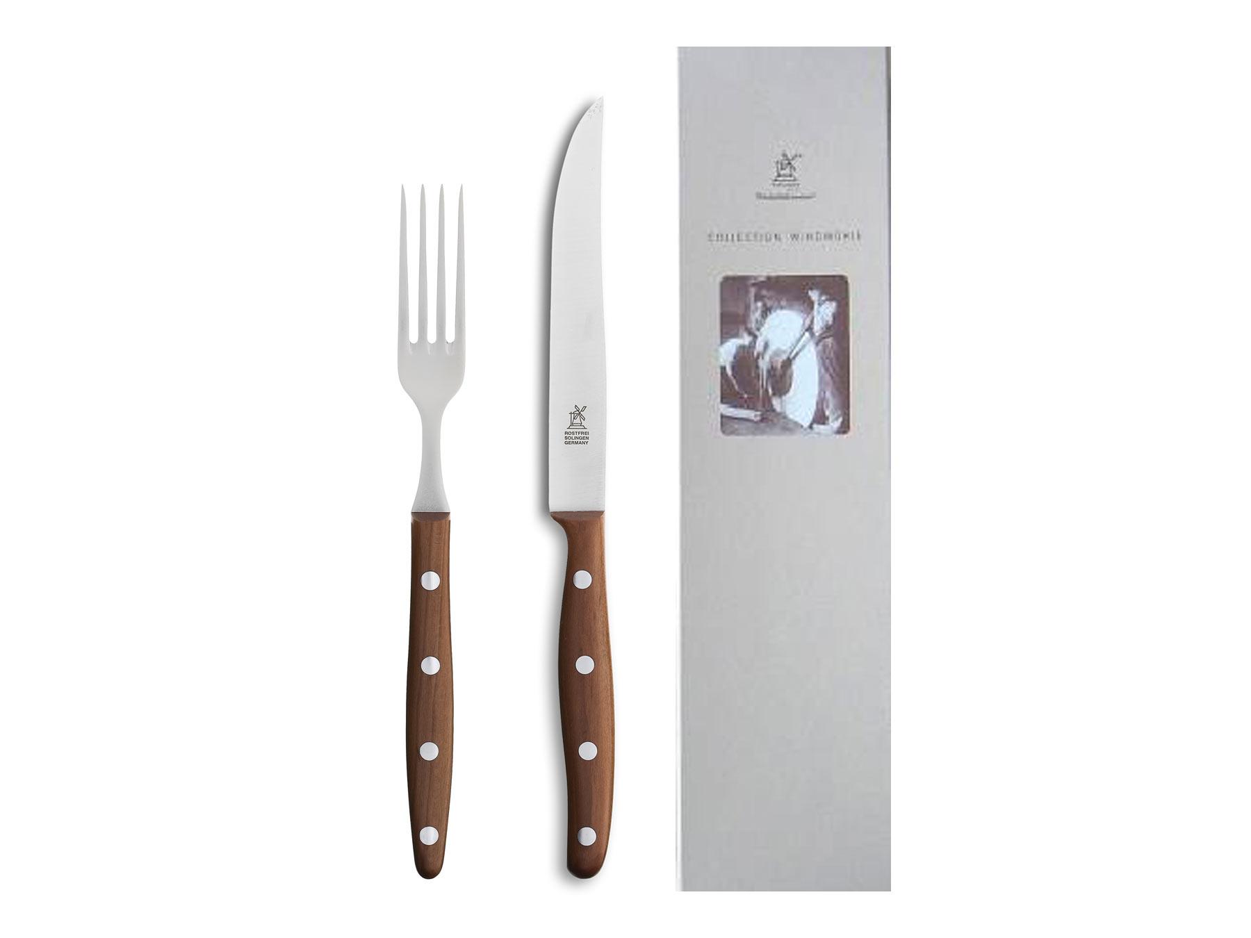 Windmühle Steakbesteck Steakmesser und Gabel Pflaumenholz 12,5cm