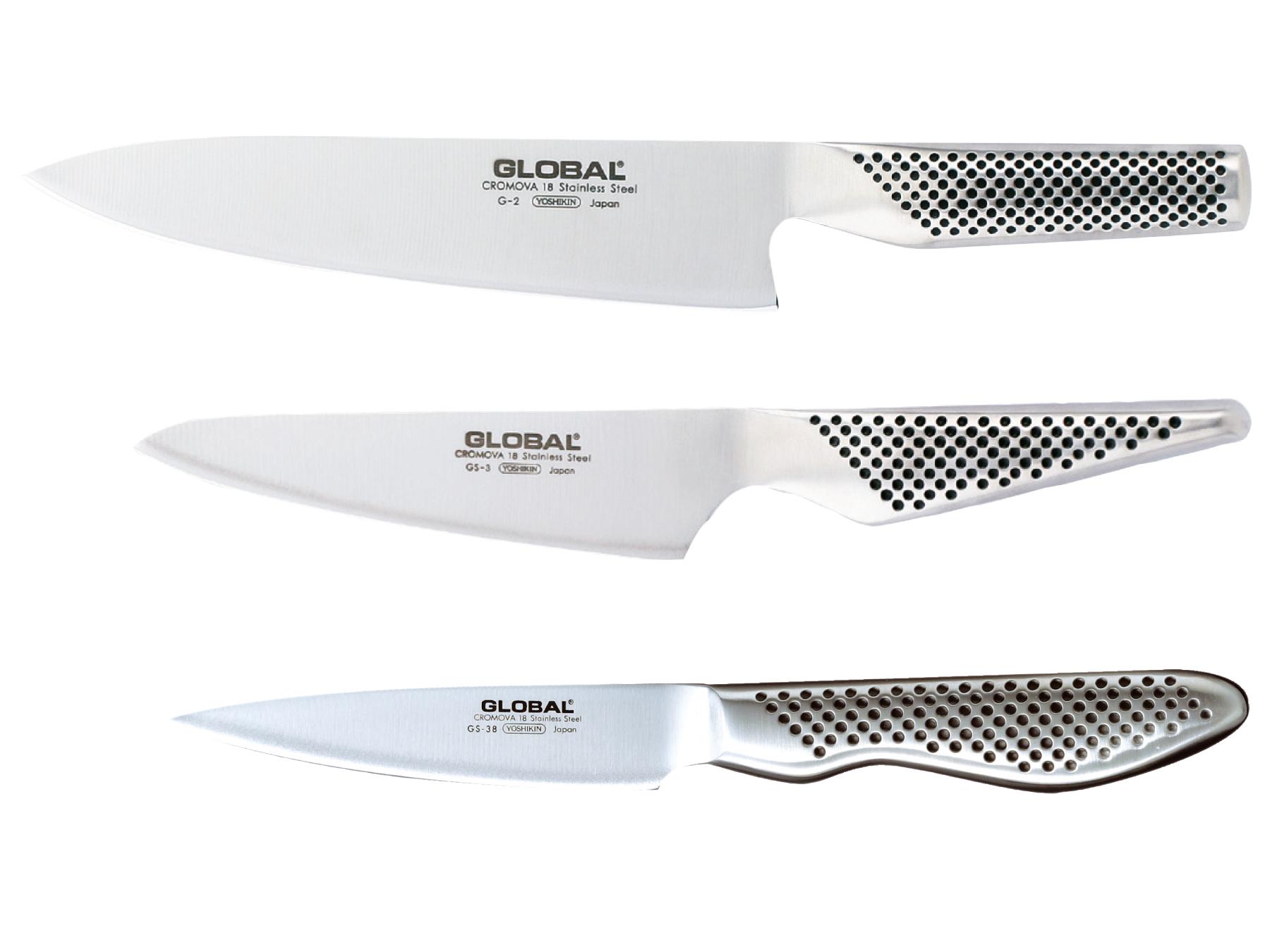 Global G-2338 Messerset 3 teilig, G-2, GS-3 und GS-38
