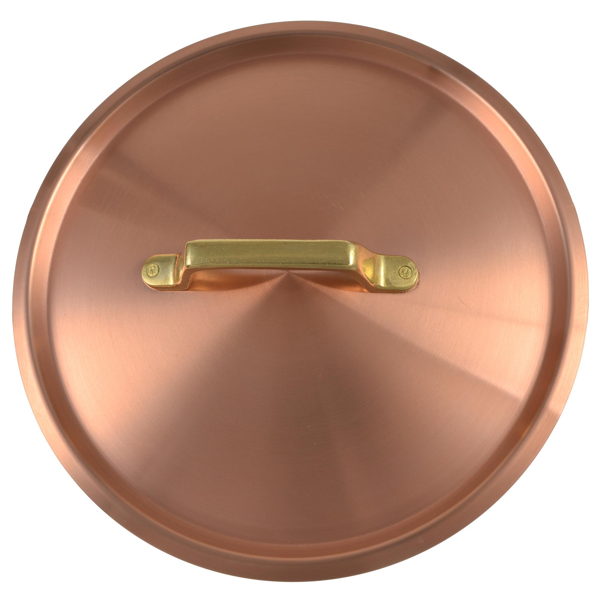 Kupfermanufaktur Kupferdeckel mit Messinggriff 20 cm