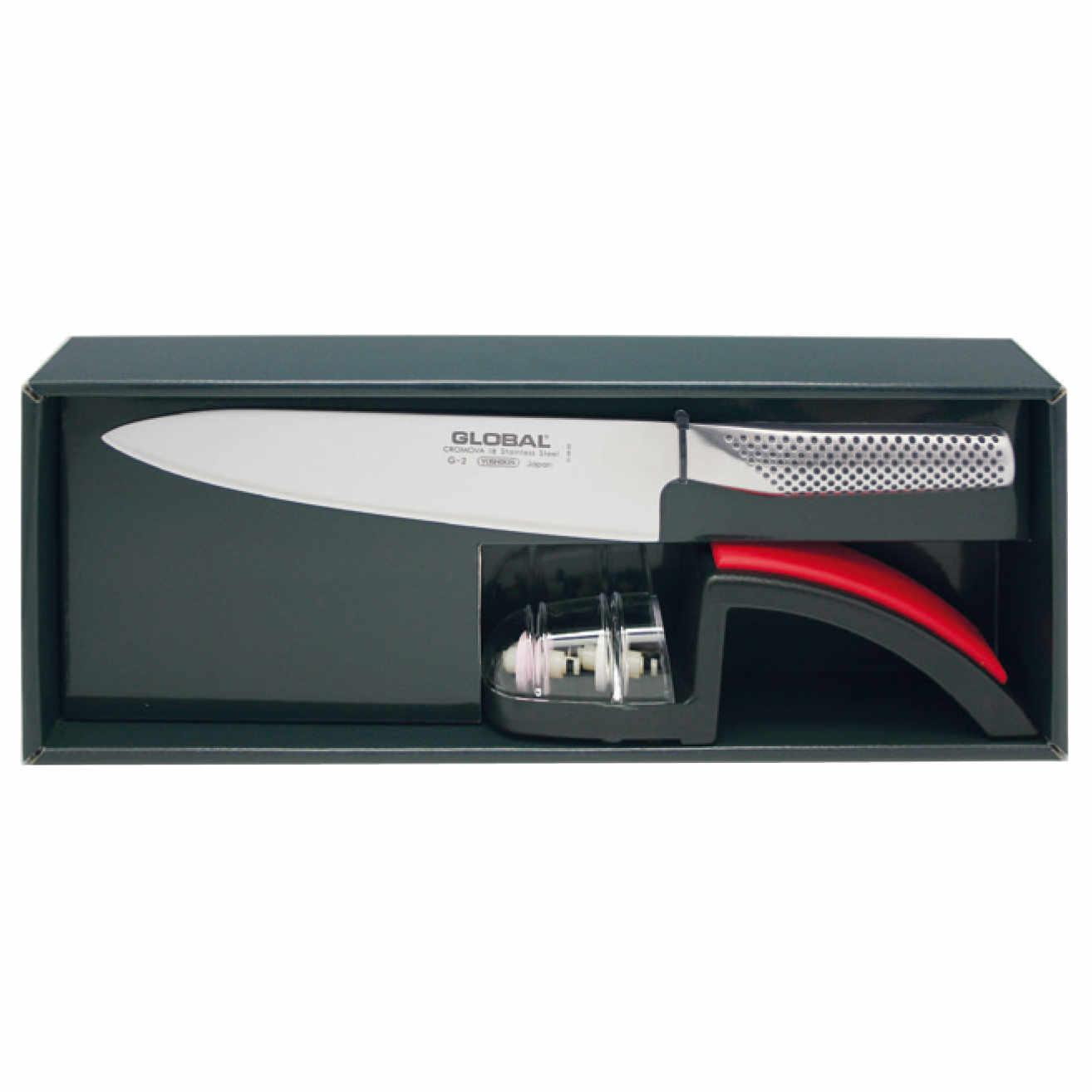 Global G-2220BR Set: G-2 Kochmesser + MinoSharp Schleifer 220-BR