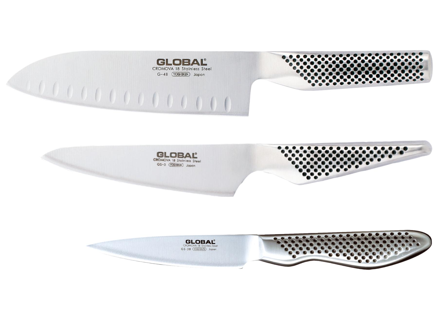 Global G-48338 Messerset 3 teilig, G-48, GS-3 und GS-38