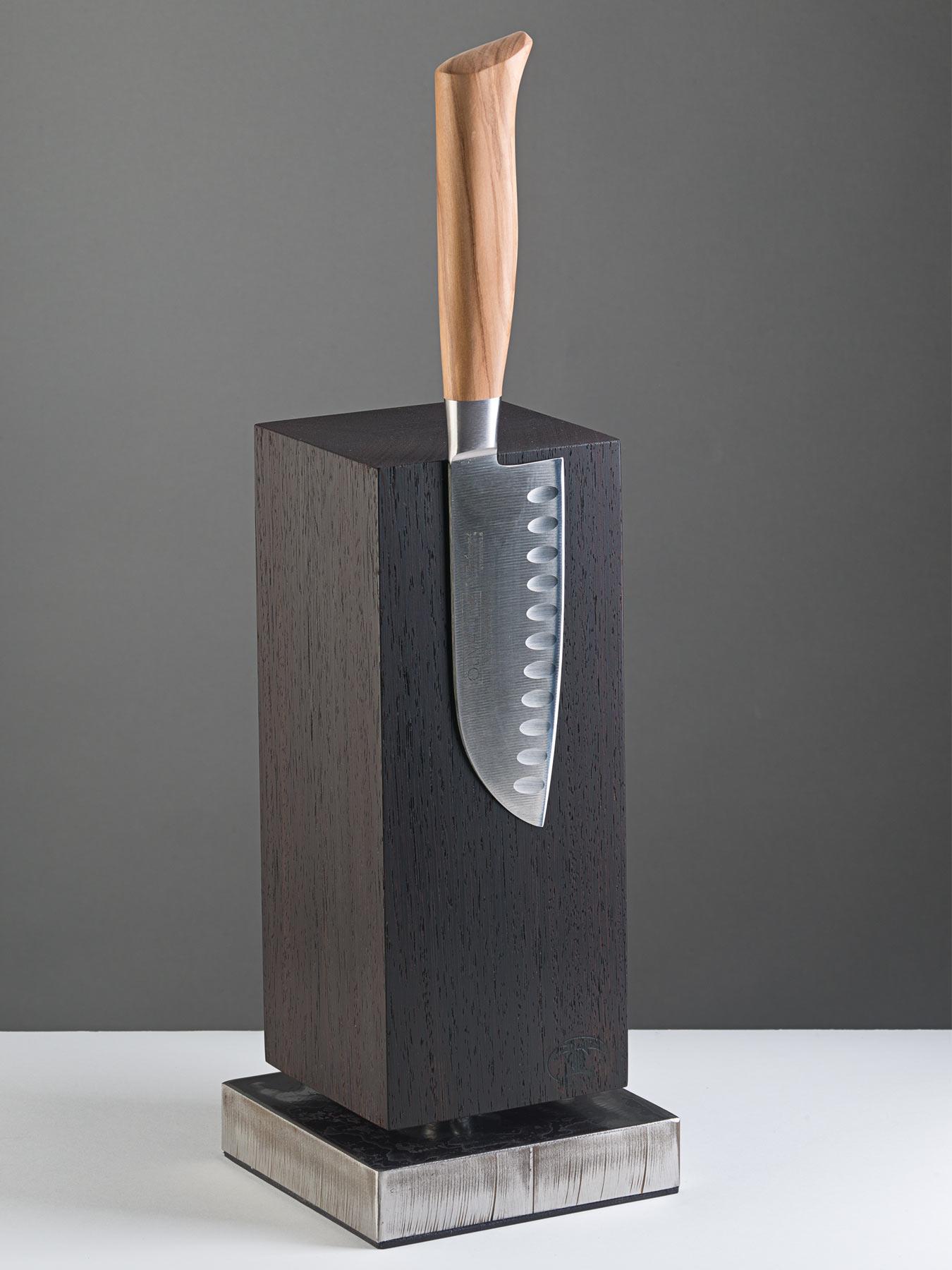 Blockwerk Messerblock Wenge für 4 Messer, Sockel unbehandelt