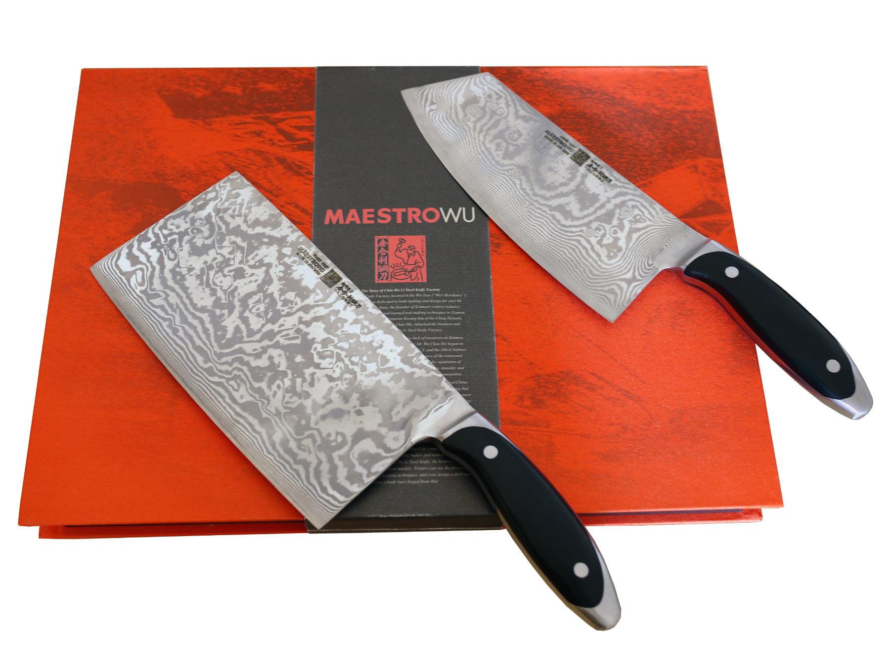 Maestro Wu Damast AMA-0306 Messerset: Chopmesser + Hackmesser