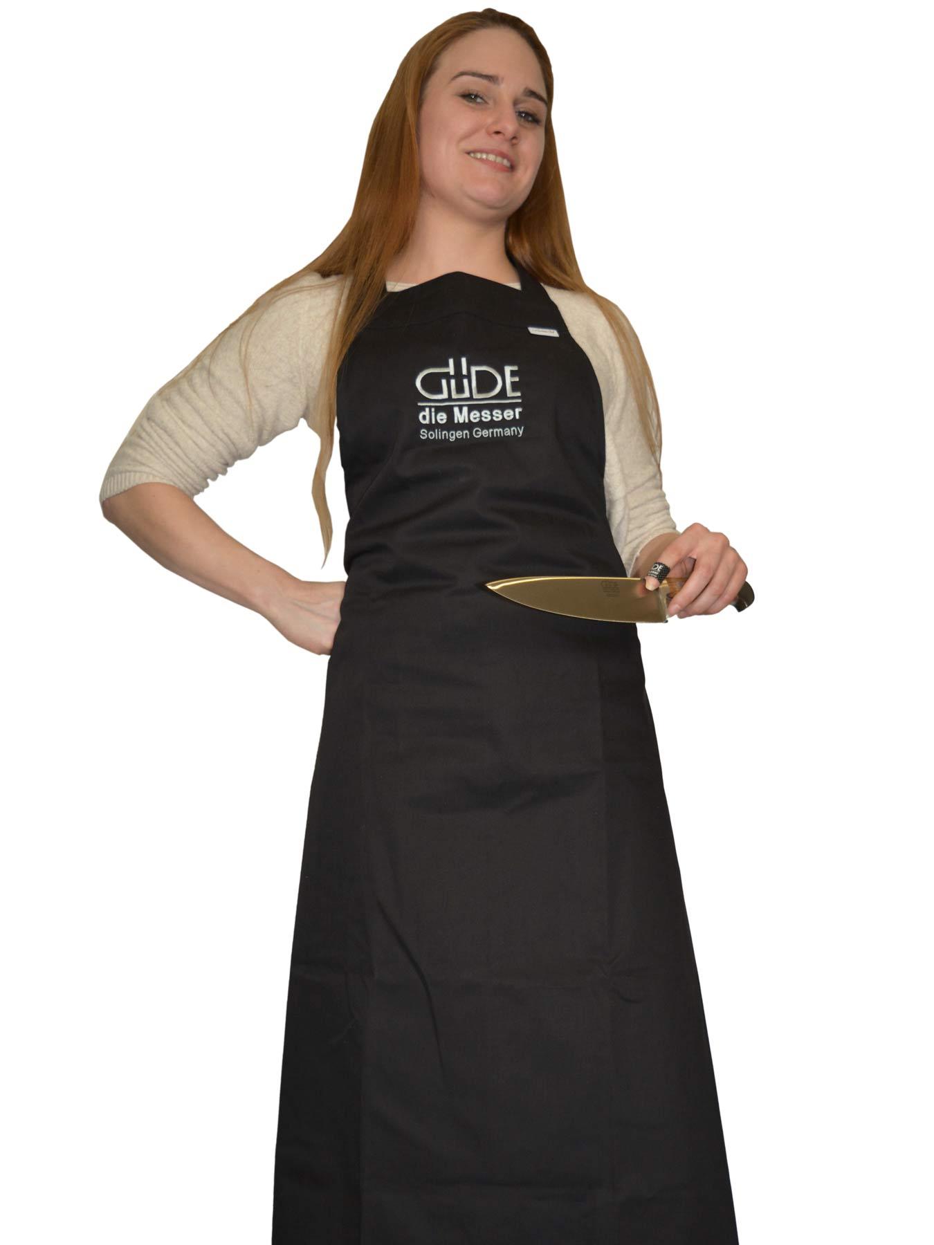 Güde Küchenschürze schwarz bestickt 100% Baumwolle 5840